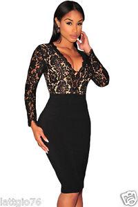 46729a2808f1 Caricamento dell immagine in corso Vestito-da-sera-nero-donna-abito -elegante-pizzo-