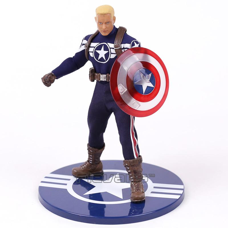 MEZCO Captain America 1 12S PVC Action Figure Figure Figure Collectible Model Toy Real Cloth 887d9c