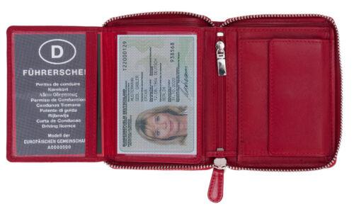 Geldbörse Damen Leder Old River Zipp Damengeldbörse Reißverschluss 100001 Rot