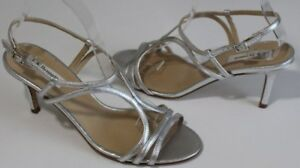 db1dc050320 L.K. Bennett 7.5 Silver ALL Leather Strappy Slingback Sandals 3 ...