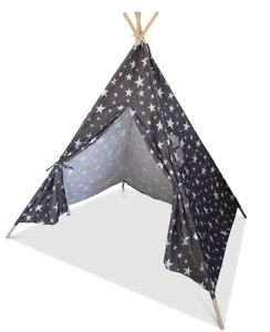 promo code 12ad7 6c5b5 Details about Grey Children's Teepee, Grey Star pattern, Wigwam, Play Tent,  Play House, tipi