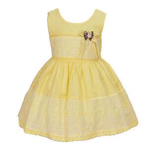 a9a24bae1d638 NEUF bébé filles coton robe de fête en rose fluo jaune ivoire 6 9 12 ...