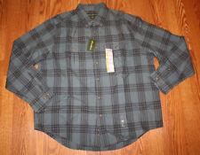 NWT Mens EDDIE BAUER Long Sleeve Blue Plaid Rugged Twill Cotton Dress Shirt XL