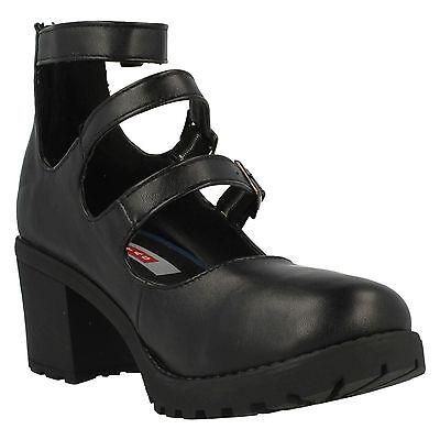 Verkauf-Mädchen Red Tag Schwarz Absatz Schuhe UK Größen 13-5 H3029