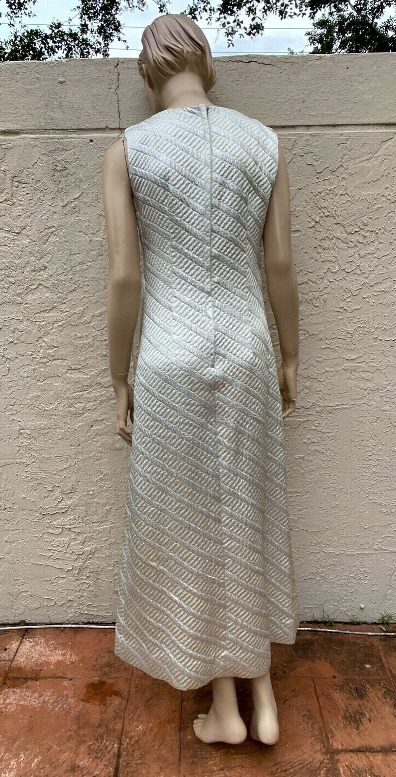 70's NELLY DE GRAB JACKIE-O METALLIC SILVER LONG … - image 3