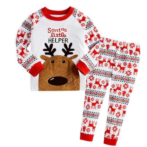 2pcs Christmas Newborn Baby Girls Boys Clothes Set Long Sleeve Tops Pants F07#
