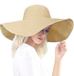 styles de mode dernières tendances Réduction Détails sur DAFUNNA Chapeau de Paille Femme Capeline Plage Anti-UV Bord  Large Pliable Chapea