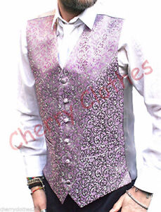 mens WAISTCOAT white lillac occasion WEDDING smart all sizes diamond cut
