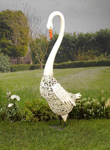 Smart Solar Metal Silhouette Swan Garden LED Ornament Light