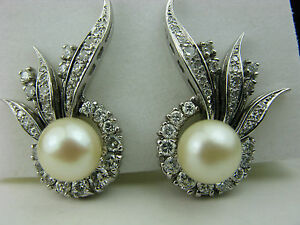 Image Is Loading Estate Jewelry 14k White Gold Pearl And Diamonds