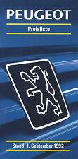 Peugeot Preisliste 1.9.92 price list 1992 Auto PKWs Preise 106 205 309 405 605
