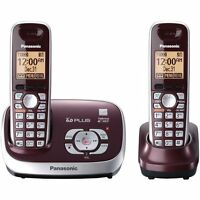 Panasonic Cordless Phone With Answering System, Wine Red, 2 Handsets (certified