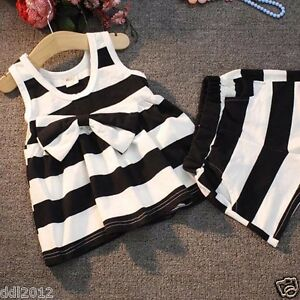 Toddler-Kids-Baby-Girls-Summer-Clothing-Bow-Stripes-Vest-Dress-Short-Pants-Set