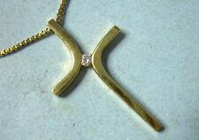 "14K Yellow Gold Cross Pendant Necklace w/ Tiny Diamond & 26"" Box Chain, 3.3g"