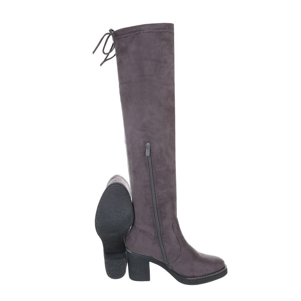 TOP Overknee Stiefel Damenschuhe Moderne Stiefel 16792 Grau 39