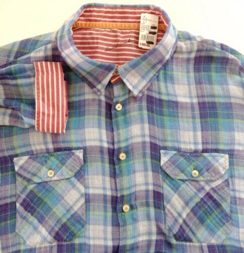 verde manga larga tamaño Nwt camisa Zimburg Plaid Hollywood Arnold algodón azul Xxl A6wwfqC