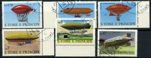 San-Tommaso-e-il-principe-Isole-1979-Mi-626-631-Usato-100-Storia-dell-039-aviazio