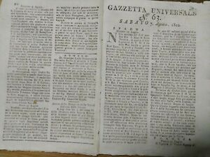 1802-GAZZETTA-UNIVERSALE-GENERALE-RIBELLE-TOUISSANT-GUADALUPE-TURCHIA-GAETA
