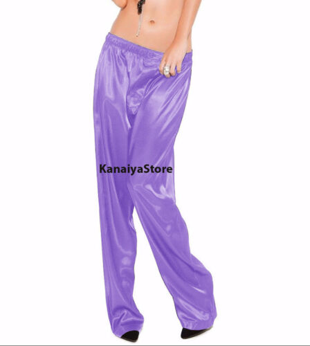Medium Purple Color Satin Unisex Lounge Sleep Pajama Pants Adult Women Sissy NEW