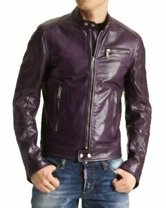 Corte Motocicleta Chaqueta cordero Púrpura 80 ajustado hombre cuero de St Biker de de piel para S 0S068qO