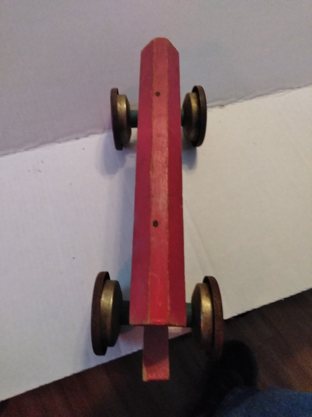 Gong Campana Noah's Ark Mfg Co  231 Tire De Juguete Década de 1940-Vintage Madera Tin gran forma.