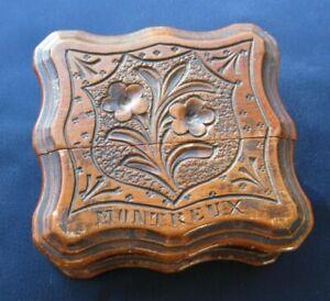 """Porte montre à gousset ancienne en bois sculpté inscription """" Montreux """""""