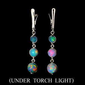 Unheated-Round-Fire-Opal-Full-Flash-7mm-Natural-925-Sterling-Silver-Earrings