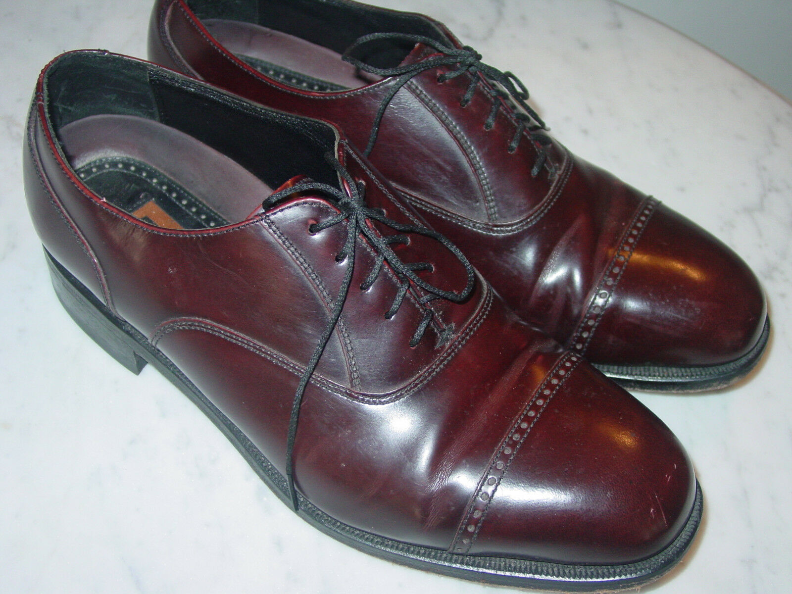 Florsheim LEXINGTON Uomo Burgundy Pelle 17067-05 Cap Toe Oxford Shoes! Size 9D