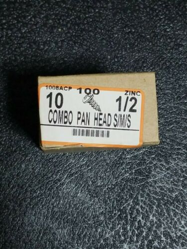 "Pan Head Combination Phillips-Slotted Drive Steel//Zink 10 Thread sz 1//2/"" 4000ct"