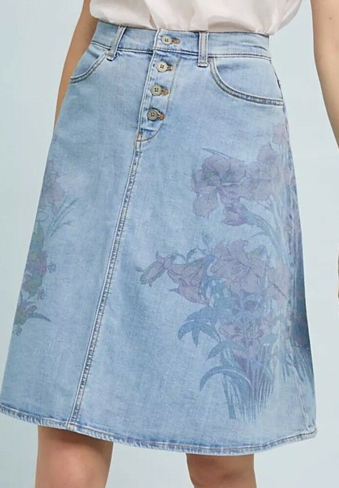 NWT Anthropologie Pilcro And The Letterpress A Line Denim Skirt 8