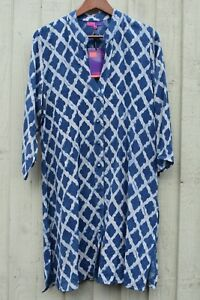 a stampa di 3 blu blocchi cotone maniche con Manicotto motivo Rubia spazzolato 4 a con in Nila wUx7fPq