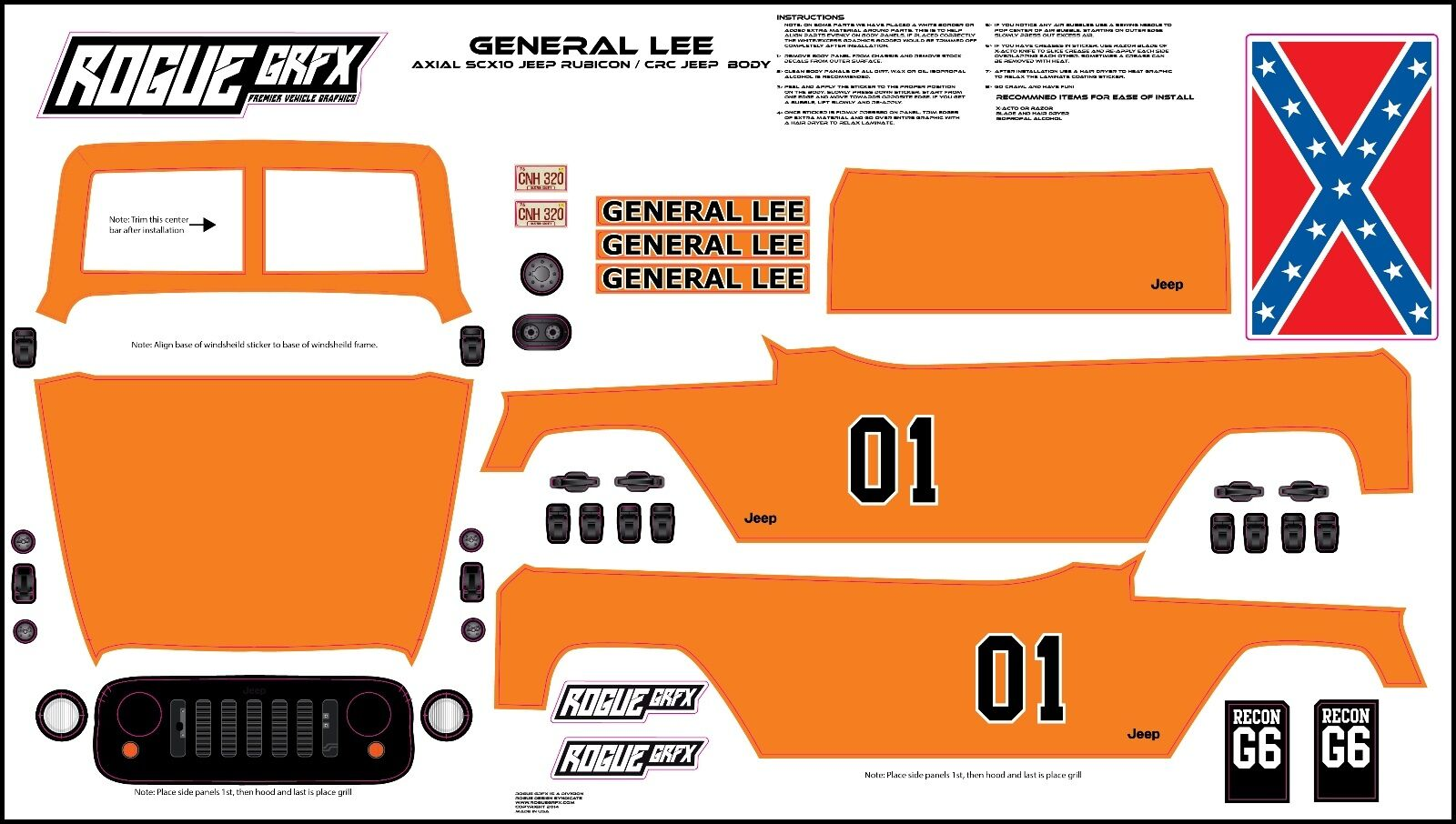 Axial SCX10 Rubicon or CRC Edition Body Graphic Wrap Skin- Skin- Skin- General Lee b7530a
