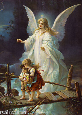 Vintage Lindberg Heilige Schutzengel Guardian Angel GICLEE CANVAS PRINT 8''x12''