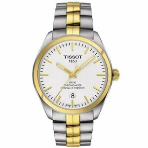 Tissot-Swiss-Made-T-Classic-PR100-Chronometer-2-Tone-Gold-Plated-Men-039-s-Watch