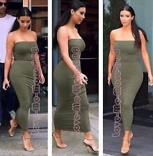 WOMENS Tube Strapless Party Club Tight fitted slimming Long Maxi Dress OLIVE (S)