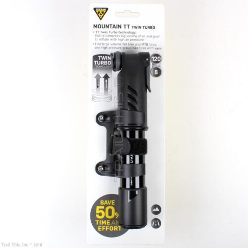 Topeak MOUNTAIN TT Twin Turbo 120psi Mini MTB Road Bike Pump Presta/Schrader
