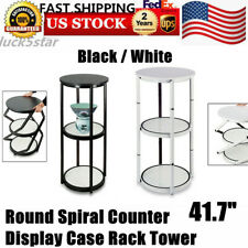 417 Round Folding Spiral Counter Display Box For Retail Outlet White Black