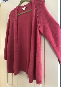 Coldwater-Creek-Pink-Open-Front-Texture-Cardigan-Sweater-Large-L-14-V-Neck