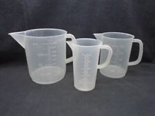 3 Kartell Plastic 250ml 500ml Amp 1000ml Graduated Beakers With Handle Pour Spout
