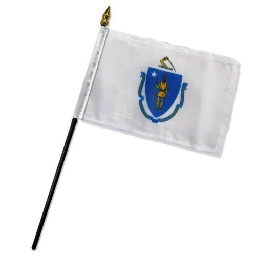 "Massachusetts State Flag 4/""x6/"" Desk Table Stick"