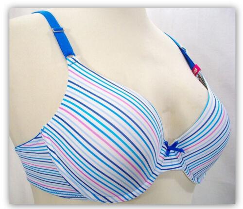 Maidenform 05701 5701 Self Expressions T-Shirt UW Bra 38D 40DD Blue Stripes