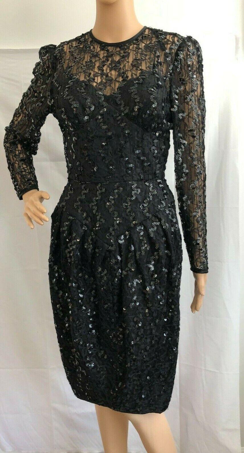 Women's Formal Pantagis Black Sequin & Lace Dress, Long Sleeves Sz 3/4, GUC
