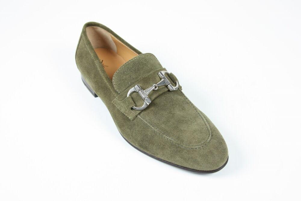 Sutor Mantellassi shoes  7 UK   8 US Dark sage green horse bit loafer