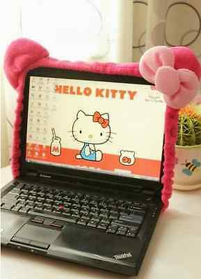 """Cute Kitty Cat Hot Pink Bow Plush Computer LCD Screen Monitor Decoration 14-21"""""""