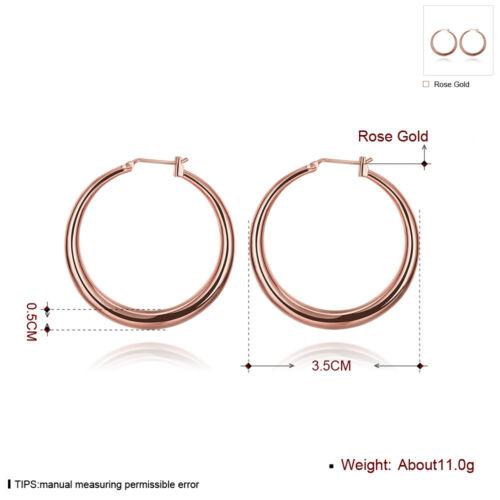 Fashion 18K Gold Filled 3.5cm Big Circle Hoop Earrings