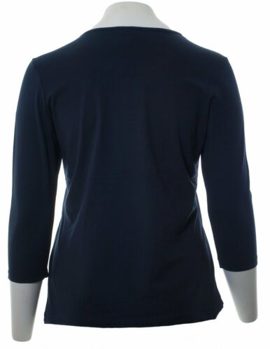 Damen Stretch Shirt Langarm Shirt 3//4 Arm Damen Navy Blau xxl große Größen