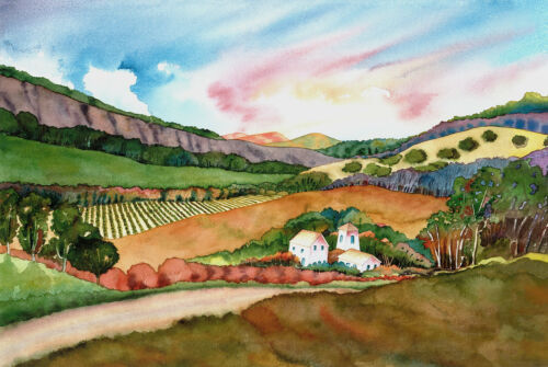 Wine Country Watercolor Napa Valley Summer in the Winery Vineyard Print
