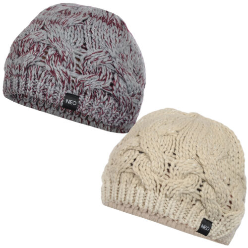 adidas NEO Womens Ladies Chunky Cable Knit Warm Beret Beanie Hat One Size
