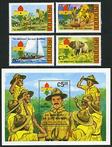 Ghana 794-797,798 S/S, MNH. Scouting Year.Tree planting,Camping,Sailing, 1982