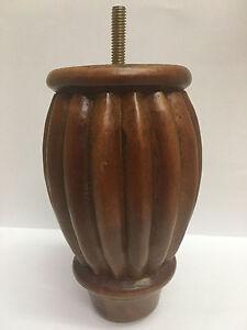 Turned-Carved-Wood-Leg-Sofa-Chair-Loveseat-Ottoman-Feet-4-Legs-5-50-034-H